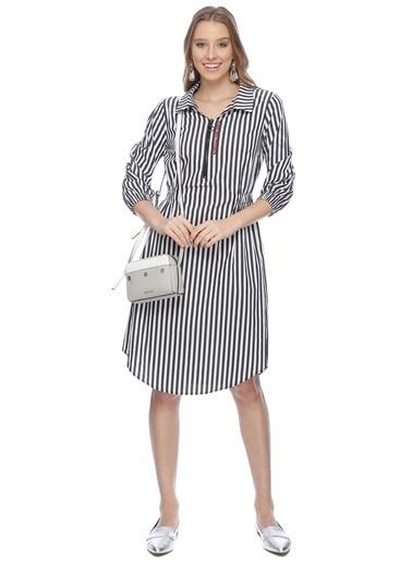 Çizgili Gömlek Elbise-Black Pepper